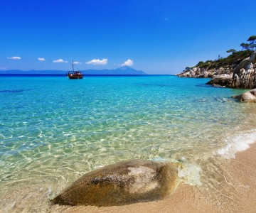 1920Paradise bay beach  Untouched nature abstract archipelago in seashore with rocks in water on peninsula Halkidiki
